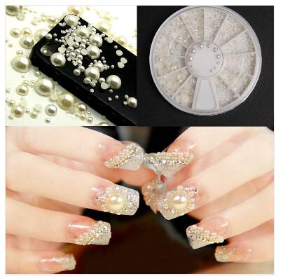 3D Fashion White Nail Art Tips Pearl Acrylic Gem Glitter Manicure DIY Decoration Drop Shipping(China (Mainland))