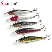 Super Price fishing tackle  3D eyes Minnow fishing lure 5pcs/lot fishing bait Free shipping 8.5cm 8g