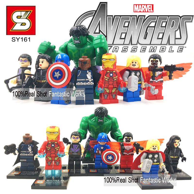 SY161 Marvel The Avengers Mini action figures VS Decool Building Blocks Figures Hulk Falcon Black Widow Hawkeye Iron Man Thor(China (Mainland))
