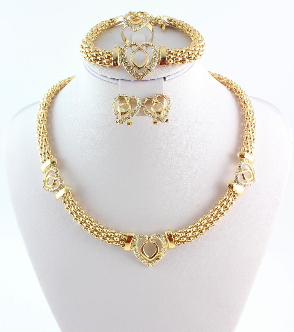 Wholesale 12 Sets hot sale heart design costume necklace set fashion top quality african gold plated women bridal jewelry sets<br><br>Aliexpress