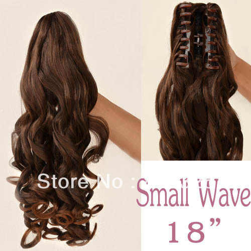 free shipping >>>Long SMALL WAVE DARKEST BROWN Hairpiece Ponytail Claw Clip on Extension Hair YZ(China (Mainland))