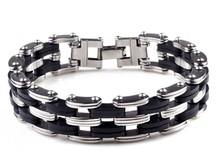 2014 NEW PUNK Men Black Rubber Bangle silver stainless steel bracelets link cuff wristband Hot