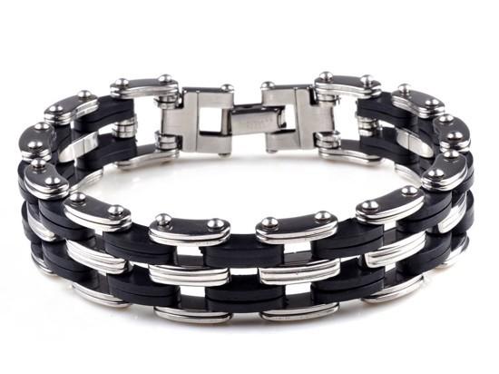 2014 NEW PUNK Men Black Rubber Bangle silver stainless steel bracelets link cuff wristband Hot(China (Mainland))