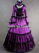 Elegant Purple Satin Victorian Gothic Gown