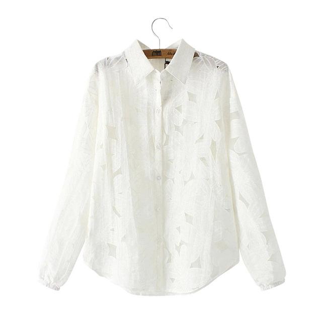 TF03 Женская Мода выдалбливают Вышитые Органзы Лоскутная Повседневная блузка С Длинным ...
