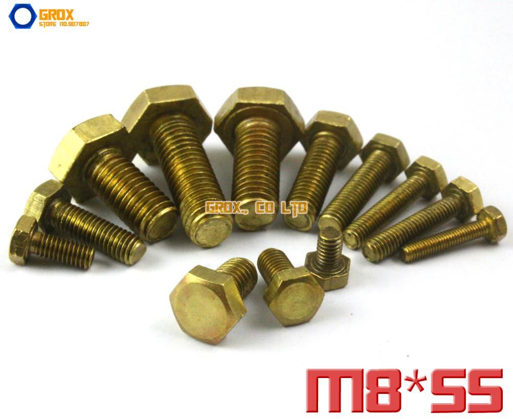 5 Pieces M8 x 55mm Brass Hexagon Bolt Hex Head Screw<br><br>Aliexpress