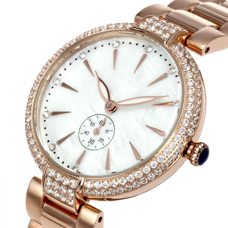 New Women Deluxe Wrist Watch White Index All 316 Stainless Steel Ionic  Switzerland 762 Movement Water Resistance