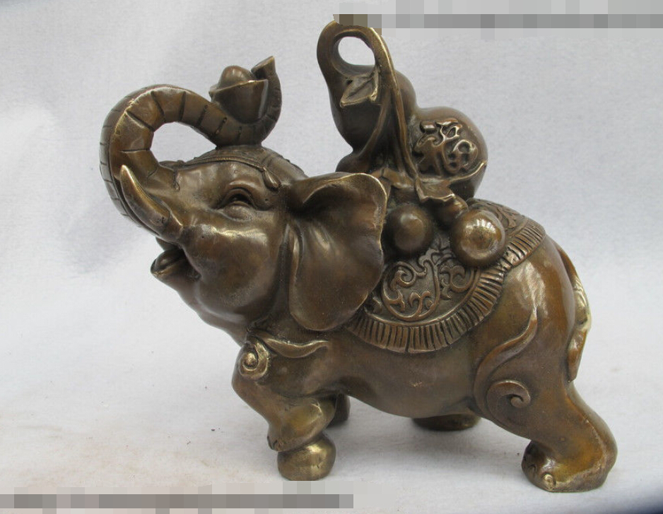 lucky china bronze copper feng shui auspicious elephant carrying a gourd statue on aliexpress. Black Bedroom Furniture Sets. Home Design Ideas