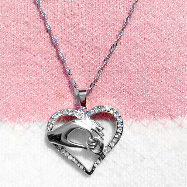Mom Necklace Mother Love Baby Child Heart Pendant Mothers Day Necklace Cheap Silver Costume Jewelry N265(China (Mainland))