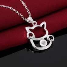 Cute Cat Silver Plated Necklace