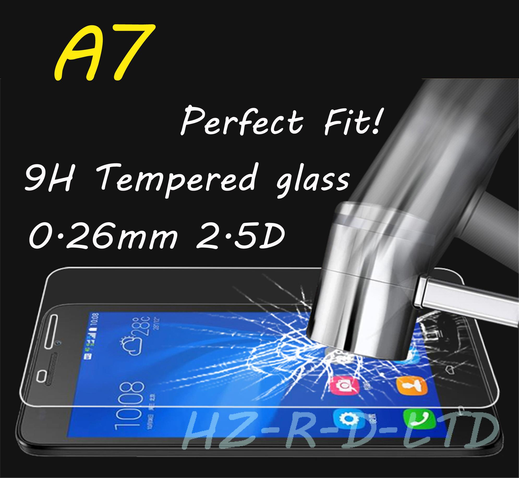 0.26mm Tempered glass screen protector Protection Film shield fit for Samsung A7(China (Mainland))
