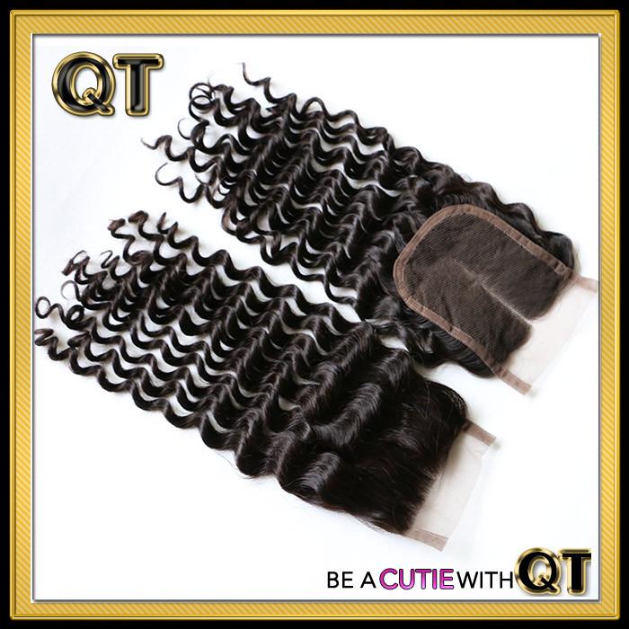 Cheap Hot 4X4 Virgin Brazilian Lace Closure Deep Wave 6A Queen Hair Products Brazilian Deep Curly Wave Closure Free Shipping(China (Mainland))