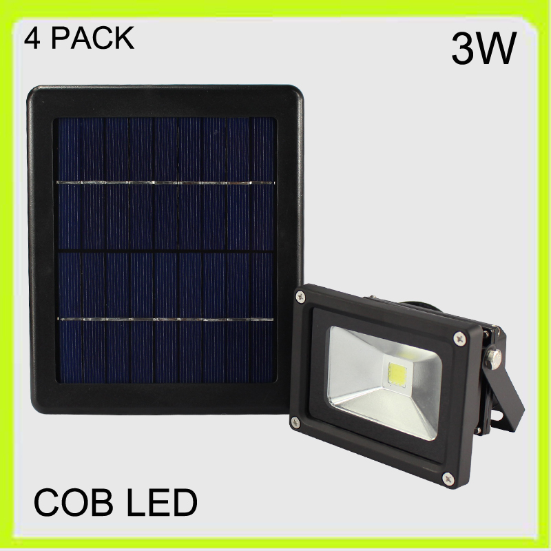 Manufacturer 4 PACK solar 3W LED flood light wall lamp led spotlights outside waterproof 2000MAH Li-ion battery courtyard garden(China (Mainland))