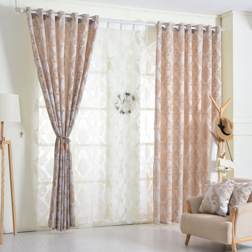 Geometry curtains for living room curtain fabrics brown window curtain panel semi-blackout bedroom curtains(China (Mainland))