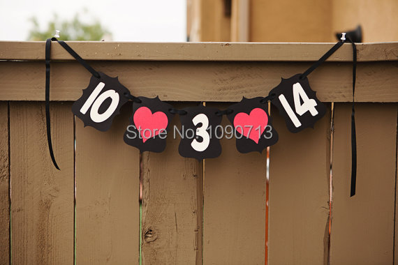 Free Shipping 1 Set Handmade Black Custom Save The Date Wedding Banner Photo Prop Sign Hanging Bunting Garlands(China (Mainland))