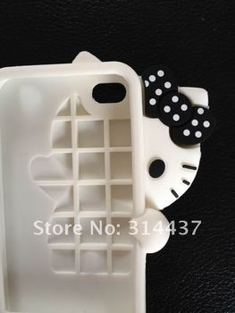 Hello Kitty Bowknot Silicone Back Cover Skin Case For iphone 4 4G,Free Shipping Wholesale 20pcs/lot Protection Cell Phone Case