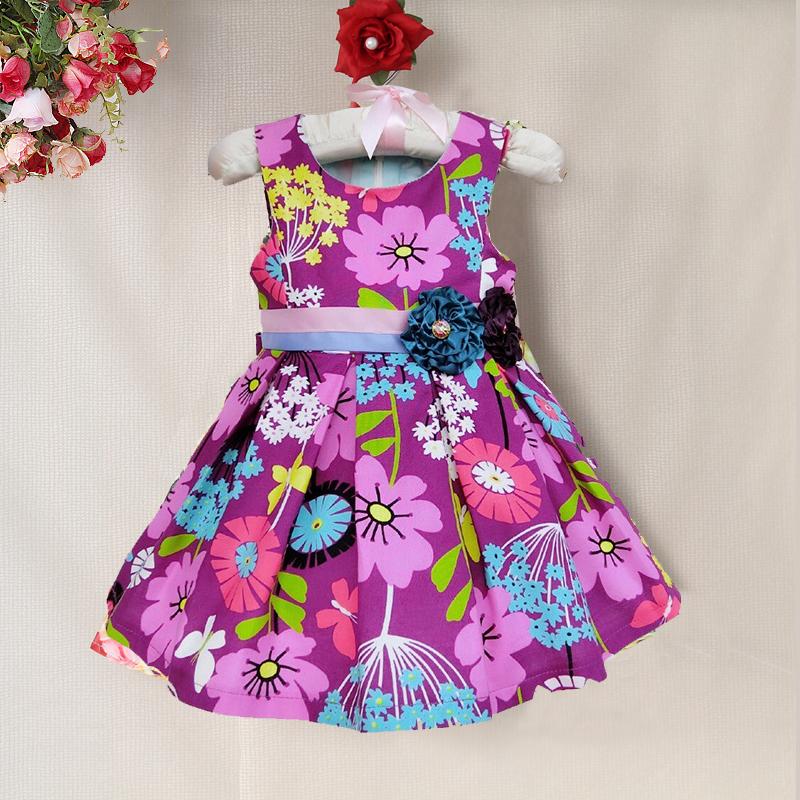 New Year Baby Girls Dresses Flower Print Cute Belt Bow Summer Dress kids Party Dress Kids dress Free shipping(China (Mainland))