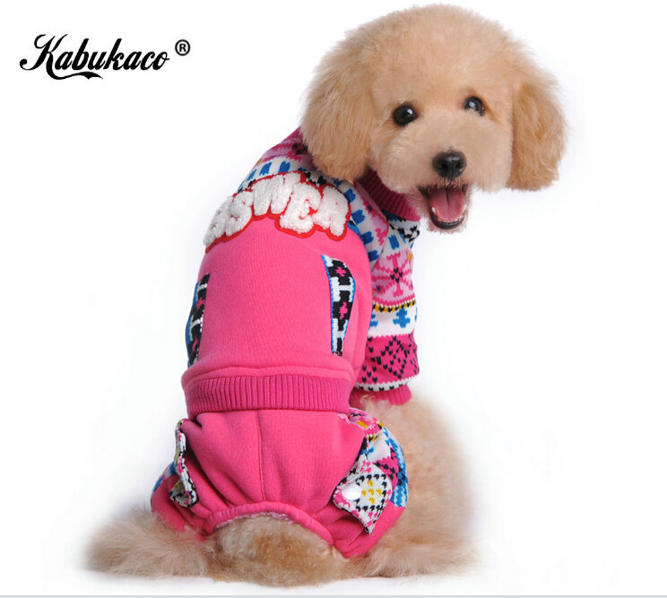 KABUKACO Autumn pet dog clothing pet winter coat Blue and Rose dogs clothes(China (Mainland))