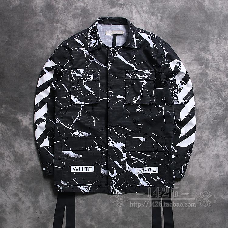2016 new Fashion trend white off white 16ss stripe marble m65 multi-pocket men jacket outerwear(China (Mainland))