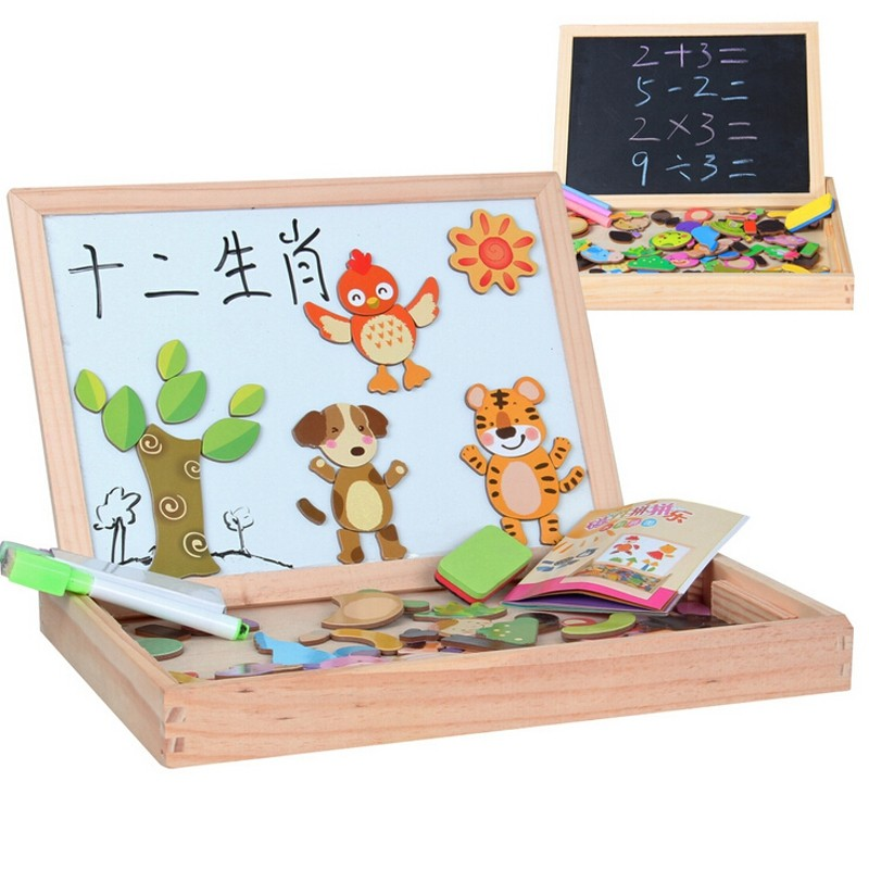 Blackboard Drawing Animal Magnetic Puzzle Whiteboard Multifunctional Wooden Chalkboard Easel Board Arts Toys Children Kids(China (Mainland))
