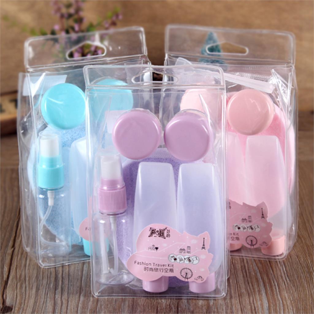 Plastic Portable Perfume Atomizer Lotion Face Wash Sponge Hydrating Spray Bottle Makeup Tools Travel Kits 7 Pcs/lot GYH(China (Mainland))