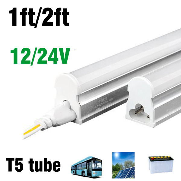T5 1ft 4w Led tube DC12V 24v led light bulb SMD2835 led fluorescent lamp cool warm white 300MM led lights for driver(China (Mainland))