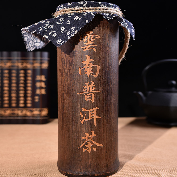 Yunnan puer tea The old tea first Bamboo tube pu-erh ripe tea Pure manual to spill the tea Old camphor fragrance(China (Mainland))