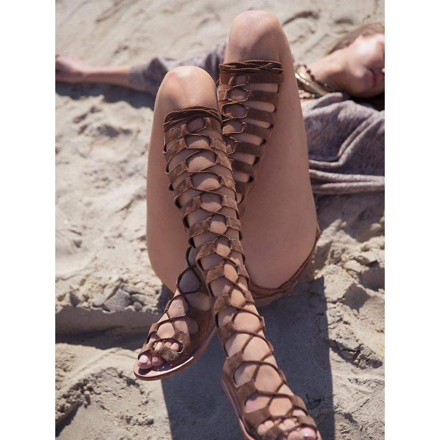 Free shipping 2015 Summer Boots Limited Edition Cross Lace-up Knee High Gladiator Sandals Bohemia Hollow Peep Toe Rome sandals(China (Mainland))
