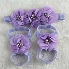 HOT Colorful Foot Flower Barefoot Sandals + Headband Set for Baby Infants Girls