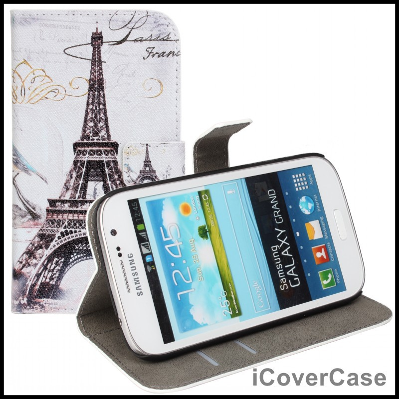 Vintage Pairs Tower Wallet Leather Case for Samsung Galaxy Grand Duos i9082 ,Grand Neo,Grand Lite i9060