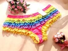 Europe and the United States gauze sexy lovely lace female triangle pants color rainbow cake bigger sizes underwear(China (Mainland))
