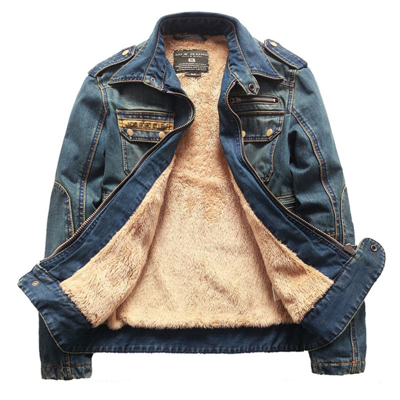 YK2848 2016 Men'S Winter Denim Jacket Male Retro Plus Thick Velvet Demin Jacket Coat Men Fashion Casual Brand Sport Outwear(China (Mainland))