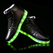 2015 New Men and Women Fashion Luminous Shoes High Quality LED Lights USB Charging Colorful Shoes Lovers Casual Flash Shoes(China (Mainland))