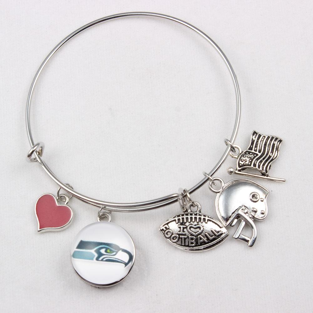 Snap Button Bangles Seattle American Football Team Sports Snap Bracelets 10pcs(China (Mainland))