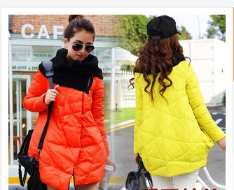2015 Winter Jacket Women Knit Stitching Cape winter Coat Women Plus Size Long Thick Down Jacket Women abrigos y chaquetas A1397(China (Mainland))
