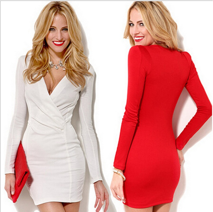 639 New Arrival Fashionable Office Sexy Lady Dress party wedding Birthday bar&clab dress V-neck Package hip(China (Mainland))