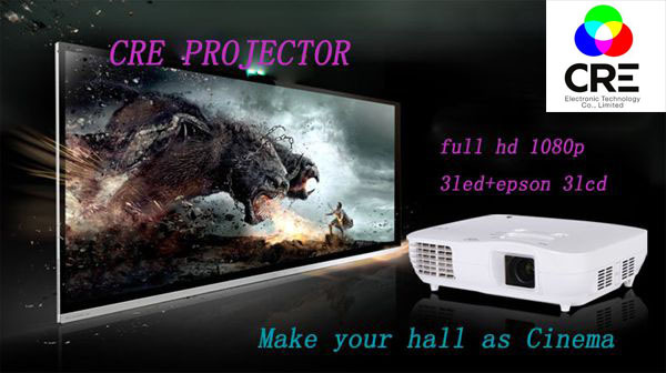 Real 1080P Full HD projector 1920*1080 Native 3LCD Home theater exporter picture theatre - China Best Brand CRE LED Projector store