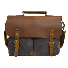 2016 Men's Vintage Genuine Leather Shoulder Messenger Bags Laptop Briefcase Satchel Bag Fit 14 inch Computer  Laptops(China (Mainland))
