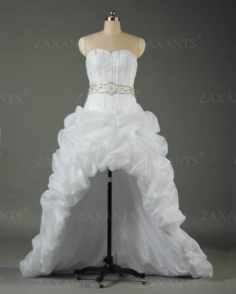 BN538 Sweetheart Organza Short Front Long back Wedding Dresses High Low Bridal Gown(China (Mainland))