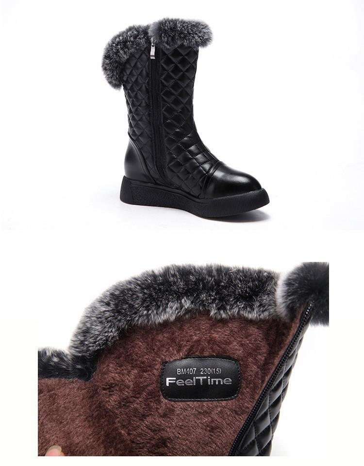 ซื้อ แฟชั่นผู้หญิงฤดูหนาวหิมะบู๊ทส์full grainหนังสูงบนเพลาอุ่นให้กลางลูกวัวบู๊ทส์รอบนิ้วเท้าตุ๊กตารองเท้าGN23