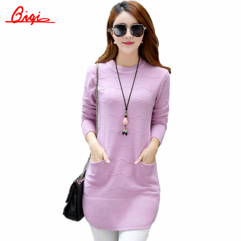Plus size S-XXL New 2016 Winter Women sweater Elastic Round Neck Long Sweaters Slim tight Bottoming mujer Wool Knitted Pullovers(China (Mainland))