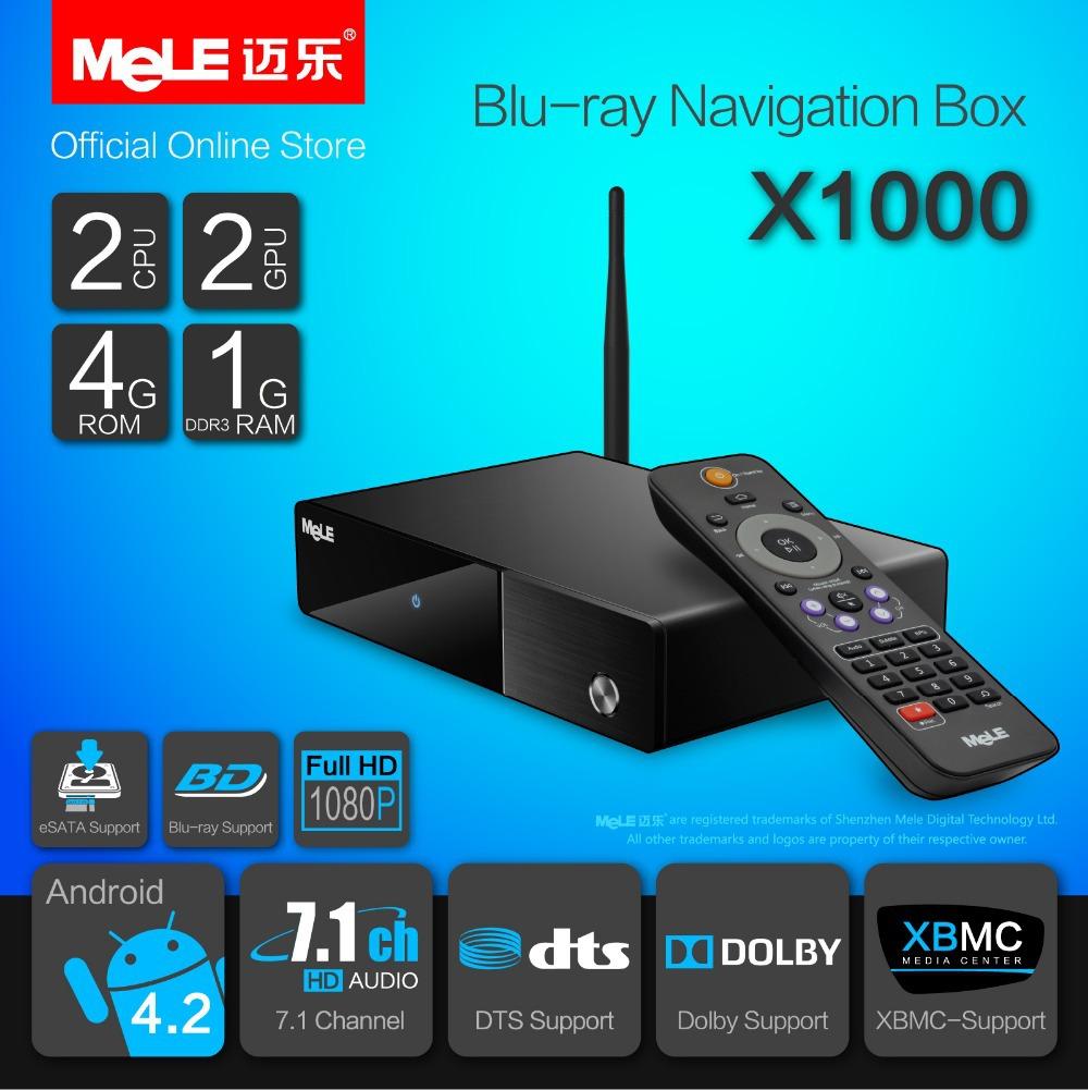 MeLE X1000 Blu-ray Navigation Box XBMC Add-on Netflix 3D ISO BDMV MKV Dolby DTS 7.1 HDMI 1080P LAN WiFi HDD Media Player(China (Mainland))