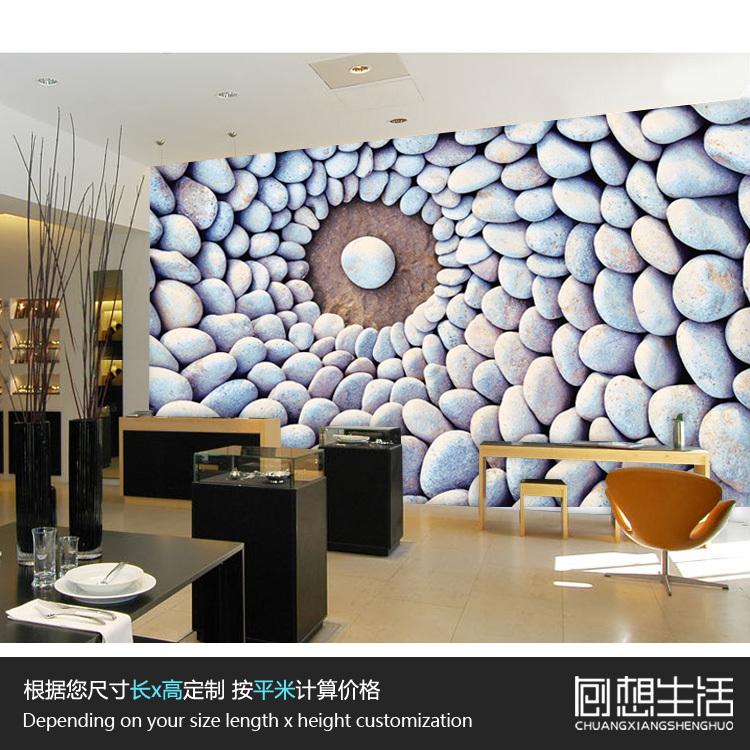 Pedras Zen chinês grande mural fundo TV quarto papel de parede sala de casa p