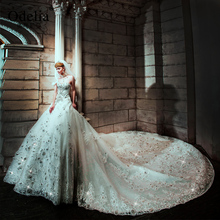 Luxury Cathedral Train Crystal Wedding Dress 2016 Shine Rhinestone Appliques Bridal Gown Hot Sale Sweetheart Wedding Gown(China (Mainland))