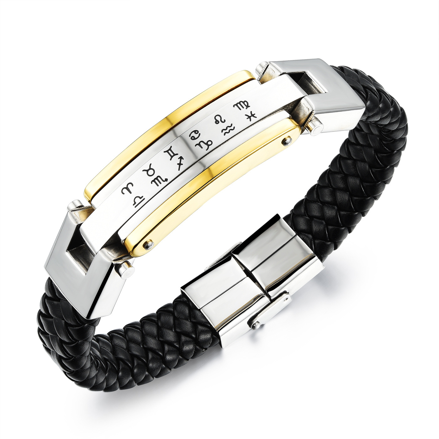 Style Men's jewelry Gothic Punk Woven leather cool man Bangles &bracelets 12 stainless steel constellation rock man Bracelet(China (Mainland))