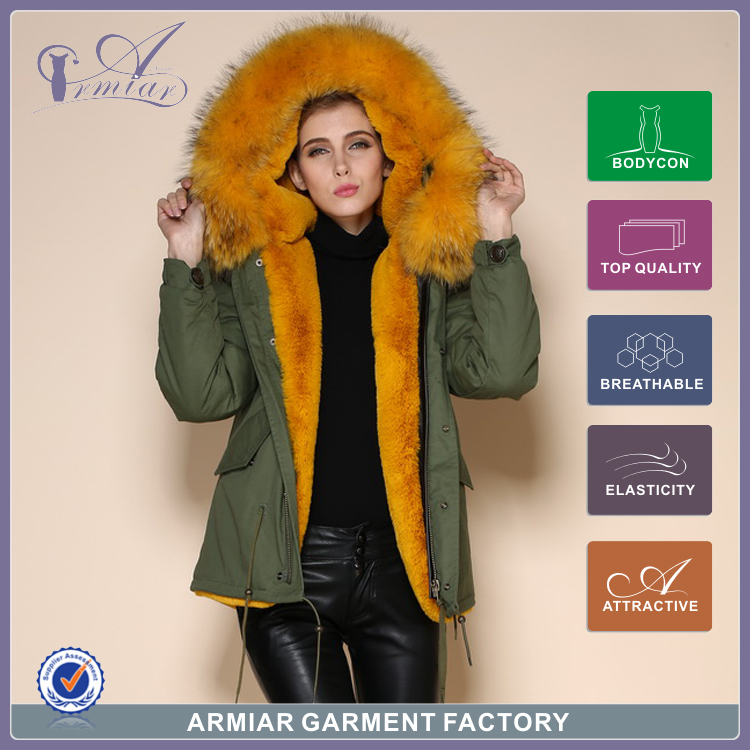 2015 Winter coat women parkas women's real raccoon fur Full lining Army Green mr mrs M001-13 - Guangzhou Armiar Fur Parkas Store -- Meifng Brand store