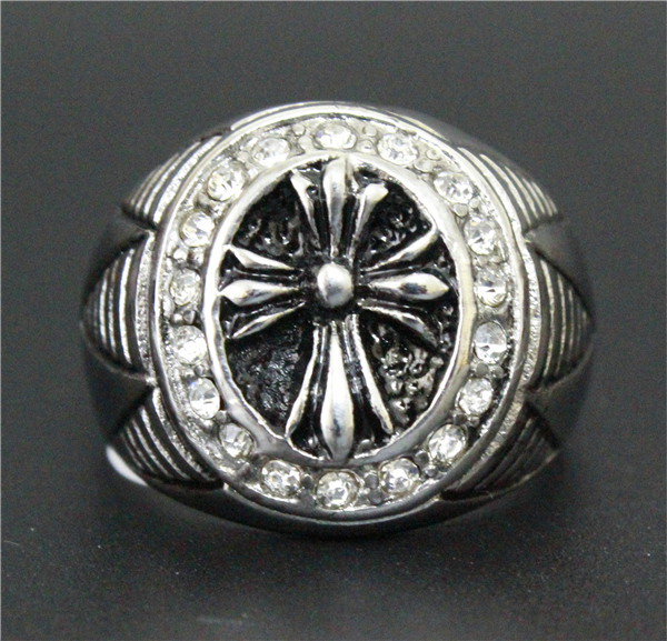 Fashion Jewelry Clean Crystal Top Brand Ring 316L Stainless Steel Men Boys Gothic Newest Design Cross Crystal Ring(China (Mainland))