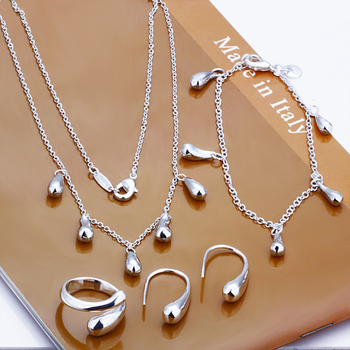 S0219 Lose money promotion!Free Shipping,wholesale silver jewelry set,simple style,fashion jewelry, factory price best gift