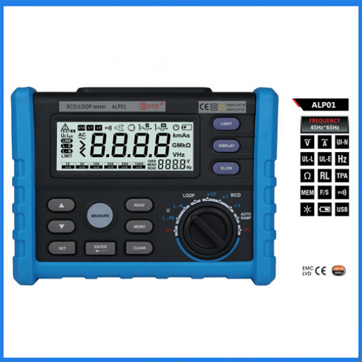 ALP01 Circuit Breaker RCD Loop Tester Meter Trip-out Time & Current Voltage Frequency Loop Resistance Measurement with USB(China (Mainland))