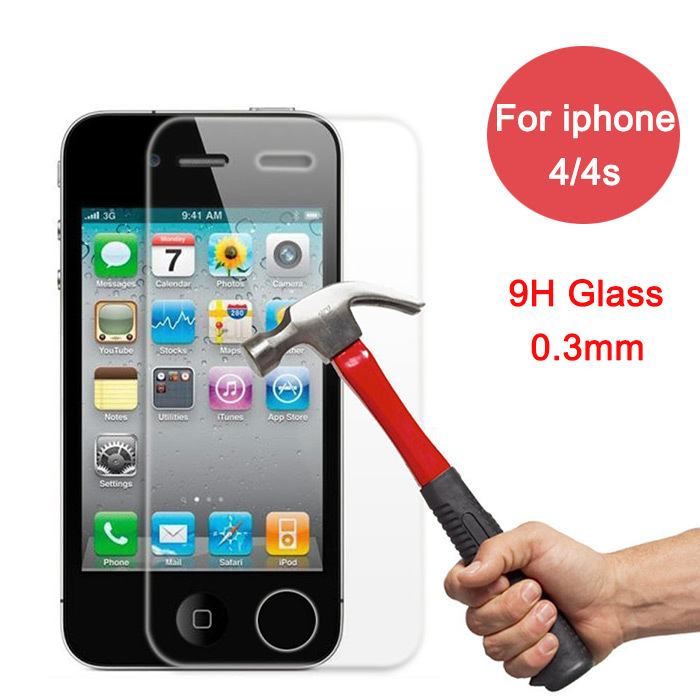 0.3mm HD high quality Tempered Glass Screen Protector film for iPhone 4 4sToughened protective For iPhone 4 4s clear(China (Mainland))